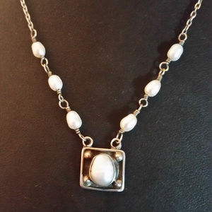 """Sterling Silver Freshwater Pearl Necklace 925 16"""""""